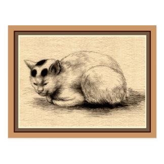 Carte postale japonaise de dessin d'encre de chat