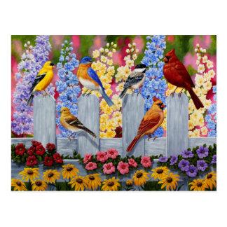 Carte Postale Jardin d'agrément coloré d'oiseau