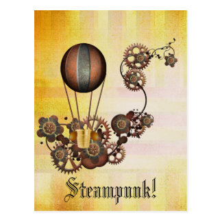Carte Postale Jaune d'antiquité de ballon de Steampunk