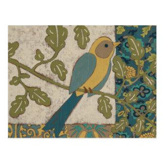 Carte Postale Jaune et oiseau bleu turquoise étés perché sur une