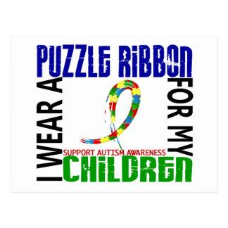 Carte Postale Je porte le ruban de puzzle pour mon autisme des