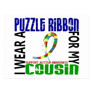 Carte Postale Je porte le ruban de puzzle pour mon autisme du
