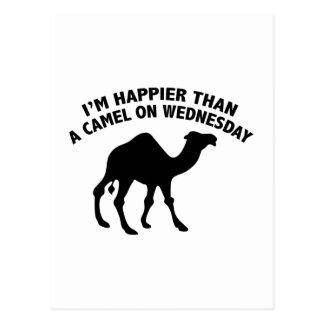 Carte Postale Je suis plus heureux qu'un chameau le mercredi