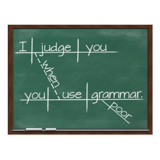 Carte Postale Je vous juge quand vous employez la grammaire