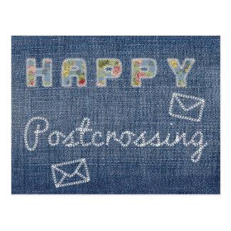 """Carte postale """"jeans heureux de Postcrossing """""""