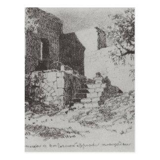 Carte Postale Jérusalem. Échelle au côté est de la voie