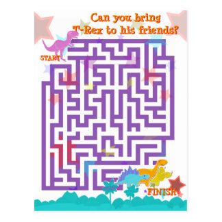 Carte Postale Jeu mignon de puzzle de labyrinthe de dinosaures