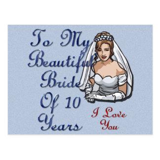 Carte Postale Jeune mariée de 10 ans