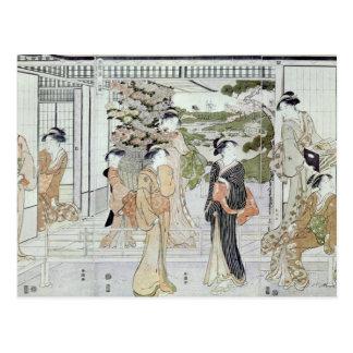 Carte Postale Jeunes femmes avec un panier des chrysanthèmes