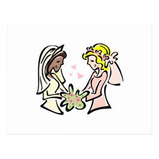 Carte Postale Jeunes mariées lesbiennes interraciales