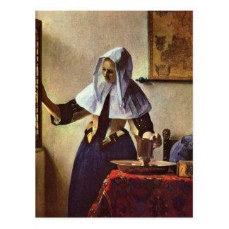 Carte Postale Johannes Vermeer - jeune femme avec une cruche