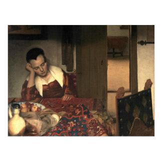 Carte Postale Johannes Vermeer une domestique endormie