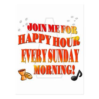 Carte Postale Joignez-nous pour l'heure heureuse chaque dimanche