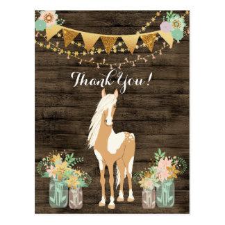 Carte Postale Joli cheval et Merci en bois rustique de fleurs