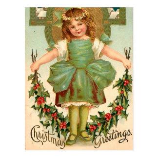 Carte Postale Jolie fille avec le houx - Noël vintage