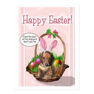 Carte Postale Joyeuses Pâques d'un chiot de Doxie