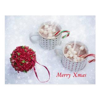 Carte Postale Joyeux Noël - Chocolat sur la neige