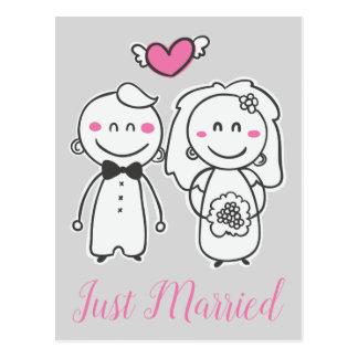 Carte Postale Juste jeune mariée et marié gris roses mariés de