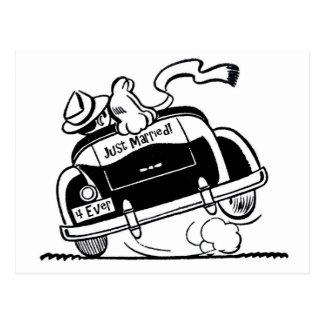Carte Postale Juste ménages mariés dans la voiture