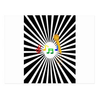Carte Postale Karaoke heureux de musique de chant blanc noir