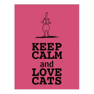 CARTE POSTALE KEEP CALM AND LOVE CATS