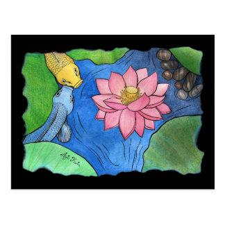 "Carte postale ""Koi et Lotus rose"" par Agni Kama"