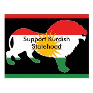 Carte postale kurde de drapeau
