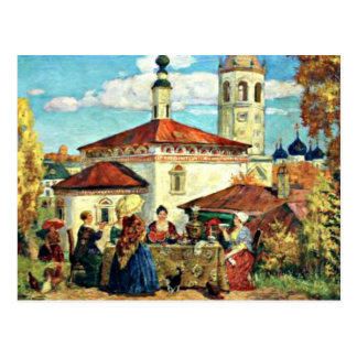 Carte Postale Kustodiev - chez le vieux Suzdal