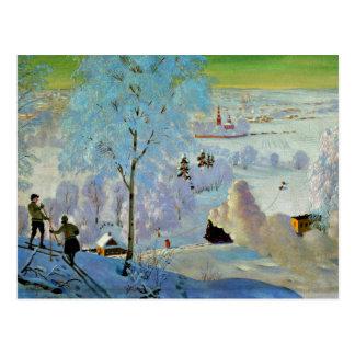 Carte Postale Kustodiev - skieurs