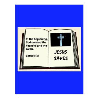 """Carte Postale La bible """"Jésus épargne"""" la série : 1:1 de genèse"""