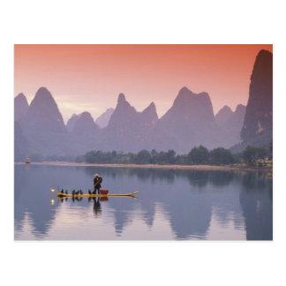 Carte Postale La Chine, rivière de Li. Pêcheur simple de