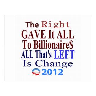 Carte Postale La droite l'a donné tout aux milliardaires