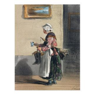 Carte Postale La femme de ménage, de 'Les Femmes De Paris