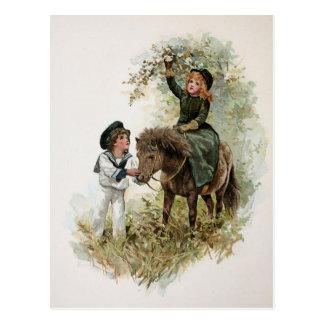 Carte Postale La fille monte le cru de poney de Shetland