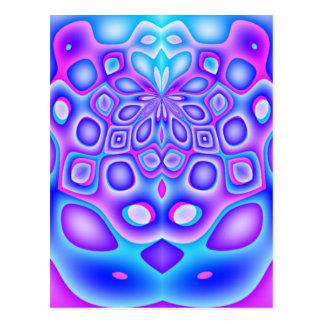 Carte Postale La géométrie bleue et rose abstraite