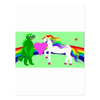 Carte Postale La licorne voit le dinosaure