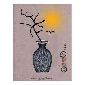 Carte Postale la lune élégante des fernandes et 1 fleur de prune