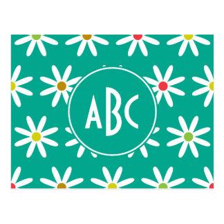 Carte Postale La marguerite turquoise pointille le monogramme