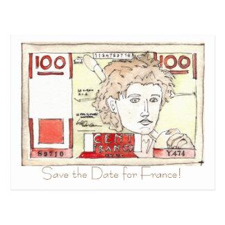 Carte Postale la note de franc, font gagner la date pour la