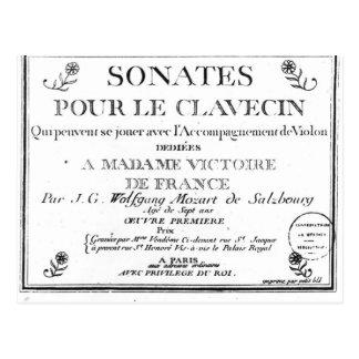 Carte Postale La page titre pour 'Sonates versent le clavecin'