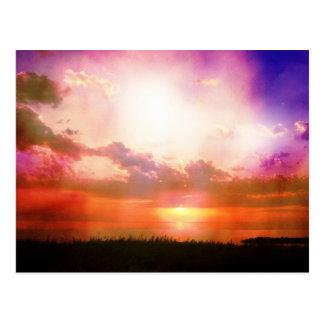 Carte Postale La photo orange rose pourpre de coucher du soleil