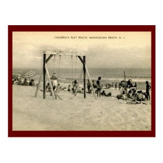 Carte Postale La plage des enfants, Manasquan, cru de New Jersey