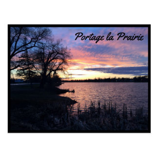 Carte Postale La Praririe - lac de transport au coucher du