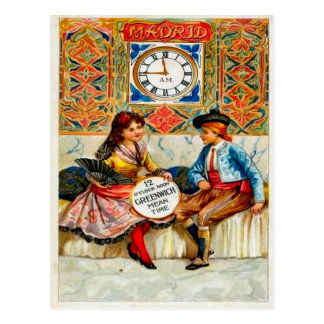 Carte Postale La publicité vintage, affiche de voyage, Madrid