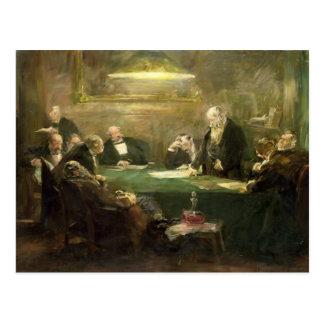 Carte Postale La réunion du conseil d'administration, 1900