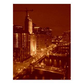 Carte Postale La rivière Chicago vintage