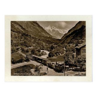 Carte Postale La Suisse 1908, train à Grindelwald