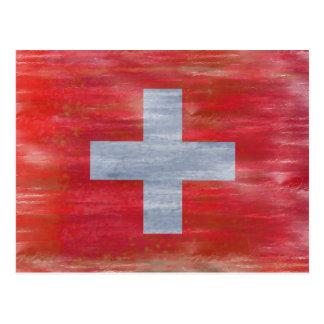 Carte Postale La Suisse a affligé le drapeau suisse