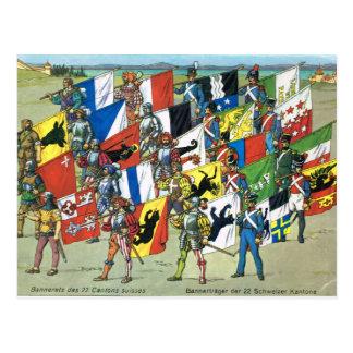 Carte Postale La Suisse, bannières des 22 cantons suisses