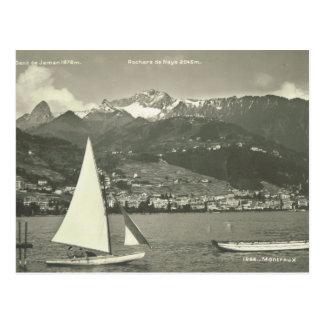 Carte Postale La Suisse vintage, Montreux, le Lac Léman